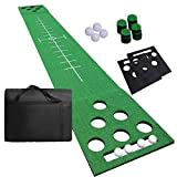SHOWTIMEZ Golf Beer Pong Game Set Golf Putting Mat Golf Putting Green Game Set di 4 palline da golf, tappetino da allenamento per la casa, interni ed esterni