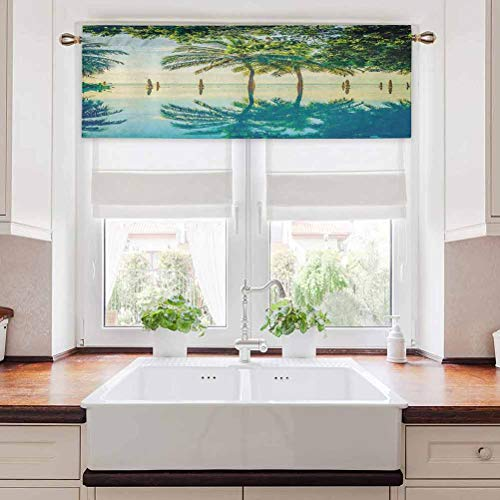 Kitchen Curtain Valance, Pool with Trees on The Surface No Filter Region Hot Spot Climate on Earth Theme, 50' W x 18' L Short Curtains for Kitchen Dining Room, Green Blue