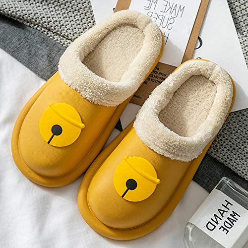 Cxypeng Women's Anti-Slip House Slippers,Women's winter warm cartoon cotton slippers, waterproof EVA plush shoes-yellow_UK6-UK6.5,House Slipper in Indoor Outdoor Shoes