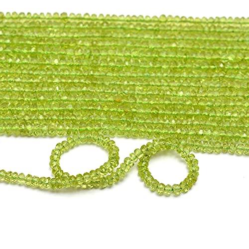 AAA + Peridot Gemstone 3mm-4mm Perlas de Rondelle facetadas cortadas a mano   Hilo de 13 pulgadas   Cuentas sueltas de piedras preciosas semipreciosas de peridoto natural
