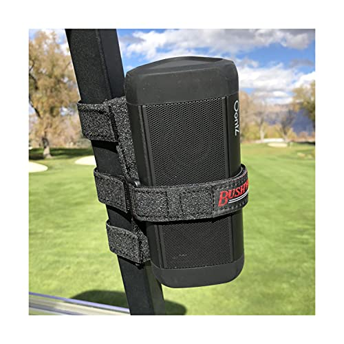 The Original Bushwhacker Portable Speaker Mount for Golf Cart Railing - Adjustable Strap Fits Most Bluetooth Wireless...