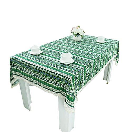 NiSeng Tovaglie per ristorazione Tovaglia Antimacchia Rettangolare Vintage Stampato Tovaglia da tavola in cotone lino Verde 140x200 cm