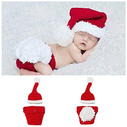 Ocamo Unisex bebé recién Nacido de Punto de Navidad Lindo Conjunto, Traje de Papá Noel, Gorro de Punto a Mano + Calcetines + Pantalones Conjunto de niños Dos Piezas