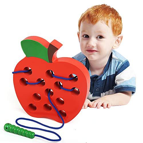 LEADSTAR Montessori Activity Houten Veter Speelgoed, Apple Threading Speelgoed, Houtblok Puzzel Reisspel Vroeg Leren Fijne Motoriek Educatief Cadeau voor 1 2 3 Jaar oude Peuters Kinderen Baby Girl Boy