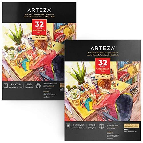 Arteza Aquarellblock, DIN A4 Aquarellpapier, 2 Stück Set mit 32 Blättern pro Malblock, weißes Malpapier für Wasserfarben und gemischte Malmedien