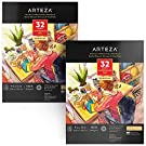 Arteza Watercolor Paper 9x12 Inch, Pack of 2, 64 Sheets (140lb/300gsm), Cold Pressed Art Sketchbook Pad, Art Supplies for Painting & Drawing, Wet, Mixed Media