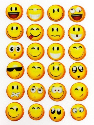 Oblique-Unique Smiley Smilies Sticker Aufkleber -24Stück- Lächeln Smily Deko Basteln