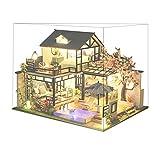 F Fityle Casa de muñecas en Miniatura, con Accesorios de Muebles, luz LED y Cubierta a Prueba de Polvo, Manualidades Casa de Madera en 3D Rompecabezas Modelo