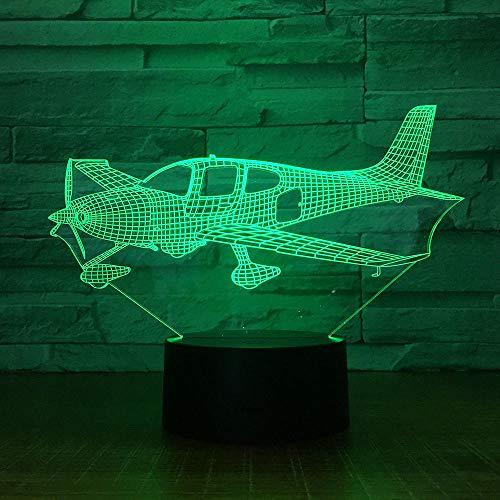 Vliegtuig 3D nachtlampje LED Stereo acryl paneel tafeldecoratie 7 kleuren veranderende slaapkamer licht