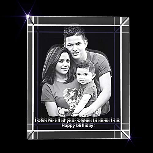 Personalized Birthday 3D Engraved Crystal Photo Gift - Medium Rectangle (3 x 3.5 x 3 inches)