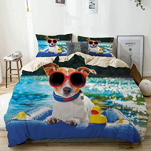 Juego de funda nórdica beige, perro Jack Russell con gafas de sol sentado en el lago, playa, imagen de cachorro en la playa, juego de cama decorativo de 3 piezas con 2 fundas de almohada, fácil cuidad