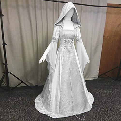 NPRADLA 2018 Kleider Damen Mittelalter Herbst Winter Langarm Elegant Mit Kapuze Kleid Bodenlangen Cosplay(S/34,Weiß)