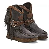 Botas de vaquero para mujer, fiesta, banquete, rebaño con cremallera plana otoño invierno cómodo estilo simple formal botines de cuero, Black, 37 EU