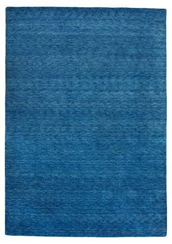 Morgenland Gabbeh Flowy Teppich Blau Einfarbig Uni Handgeknüpft 100% Schurwolle 240 x 170 cm