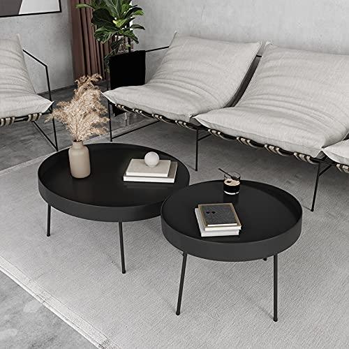 WUDAXIAN Set di 2 tavolini da caffè a Incastro, tavolino da Cocktail con Struttura in Metallo Resistente, tavolino con Lampada ad Angolo Laterale del Divano per Soggiorno