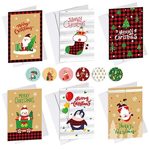 Lot de 18 cartes de Noël - Avec enveloppes - Mini cartes de Noël - Cartes pliantes - 6 designs Merry Christmas (carton blanc)