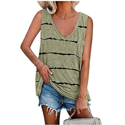 Camiseta Suelta Sin Mangas con Chaleco Estampado A Rayas De Verano para Mujer