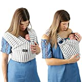 4 in 1 Baby Carrier Wrap and Baby Sling by Kids N' Such   Gray and White Stripes Cotton   Use as a Postpartum...