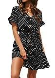 Yidarton Sommerkleid Damen Kurzarm Elegant V-Ausschnitt Knopfleiste Polka Dot Kurze Strand Freizeitkleider mi Gürtel, M, 1-dot-schwarz