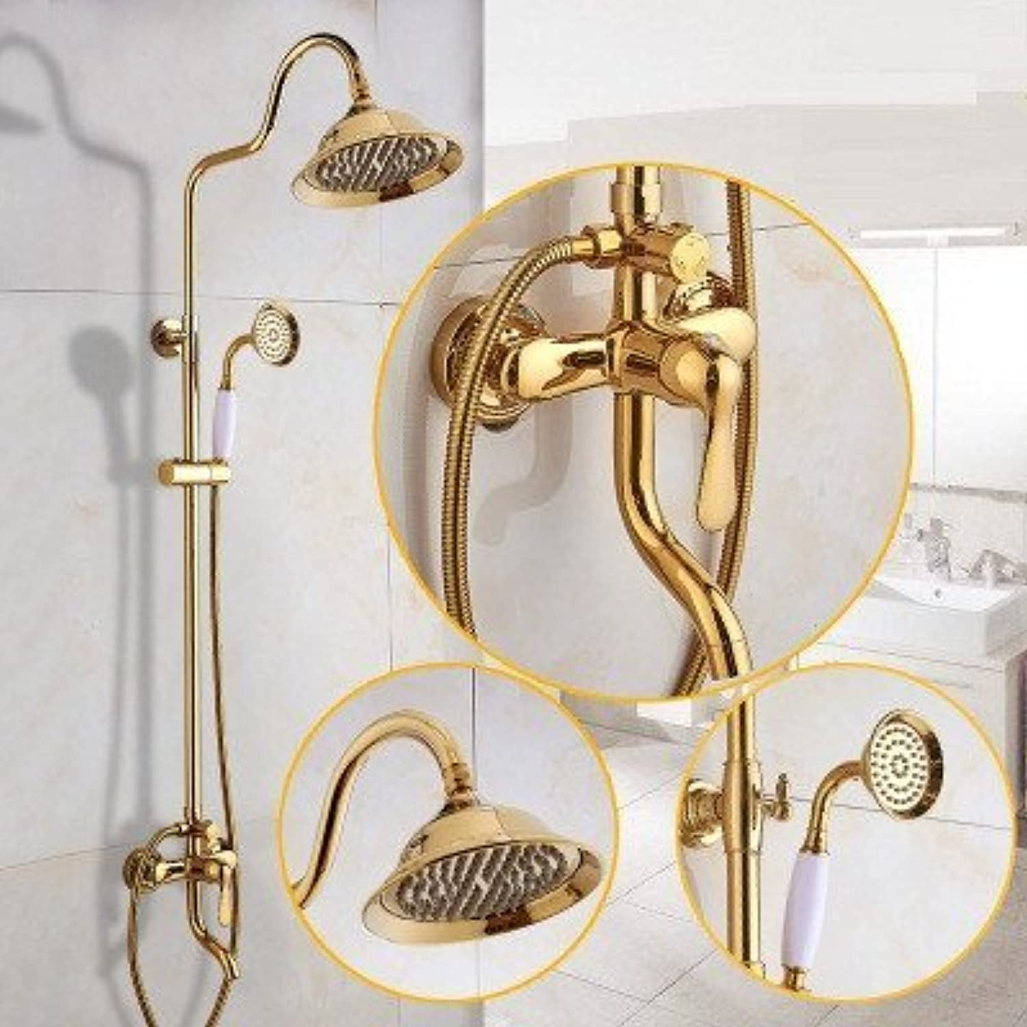 Antique gold Shower Shower Shower Toilets European Bathroom from Copper to Hunting of Cold Tap Water Mixing Valve