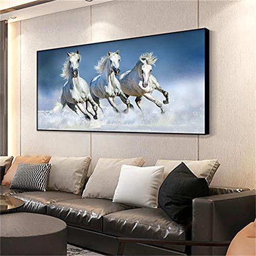 5D Diamond Painting kits Tamaño Grande,3 caballos DIY Completo Pintura de Diamantes grande Kit Rhinestone Bordado Punto de Cruz Lienzo Manualidades para Decor pared 30x90cm Square Drill