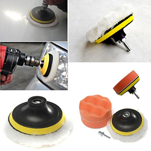 PriceWize 4'' Gross Polish Polishing Buffer Pad Sponge Kit Set Drill Adapter Car Polisher