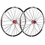 ZCXBHD 29 Pulgadas Bicicleta Montaña Juego De Ruedas Fibra Carbon Cubo Freno De Disco MTB Rueda Pared Doble 5 Palin 7 8 9 10 11 Velocidad Casete (Color : Red hub, Size : Thru axle)