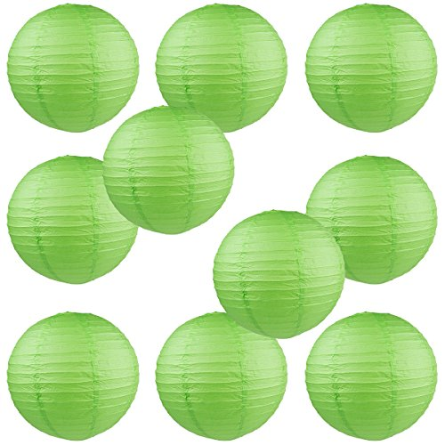 "WYZworks Round Paper Lanterns 10 Pack (Green, 10"") - with 8"", 10"", 12"", 14"", 16"" option"