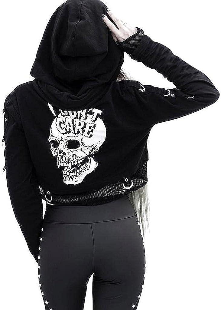 Women's Skeleton Print Hoodies, Zip Up Jacket Vintage Oversized Long Sleeve 90s Y2K Sweatshirt Crop Tops