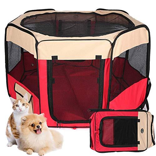 MEIQI Zelt für Haustiere tragbares faltendes Hundehaus,Haustier Hund/Katze Zelt Cage Puppy Home Kennel Achteckigen Zaun im freien Pet Übung Spielen Käfig Laufställe,90×90×60cm