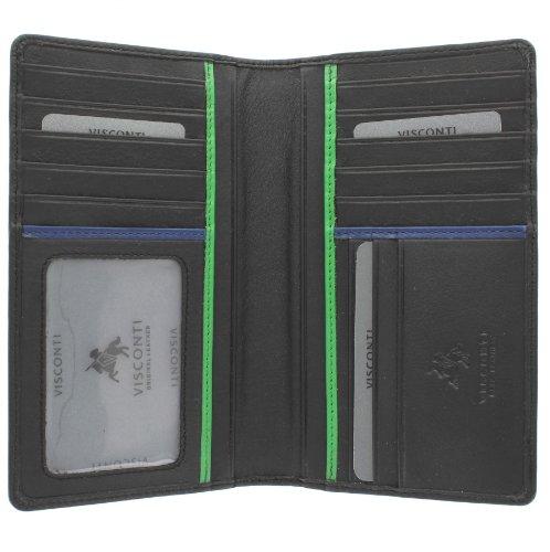 Visconti Bond Collection JAWS Pelle Giacca Portafoglio BD12 RFID blocco Nero/Cobalto/Verde