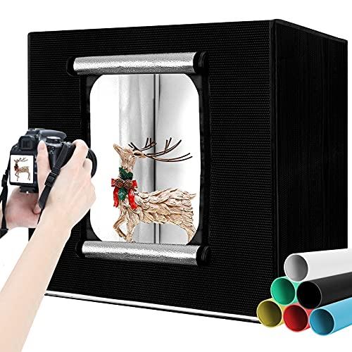 Photobox,Fotostudio Tragbare 60x60x60cm,fotobox,Einstellbare Helligkeit Fotozelt LED Beleuchtung mit 6 Farben Hintergründe(schwarz, weiß, grau, blau,...