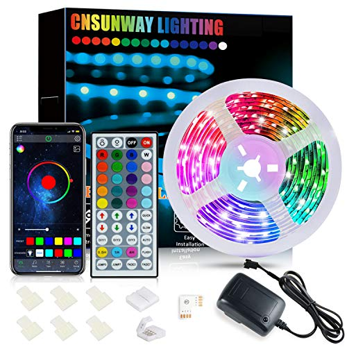 Striscia LED 6M, CNSUNWAY Bluetooth Controllata da APP Musica led Striscia 24V Striscia di Colore Variabile Con Pulsante 44 IR Telecomando, per Adatto a Salotti, Camera, Bar, TV, Feste