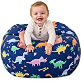 Aubliss Stuffed Animal Storage Bean Bag Chair Cover Only for Plush Toys, Blankets, Large 38'-Canvas Dinosaur