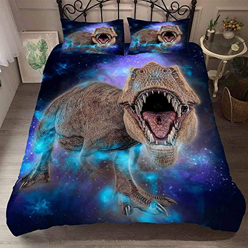 AHJJK Duvet cover set 55 x 79 inchAurora and dinosaurs 3D Printed Microfiber Bedding Duvet Cover with 2x Pillowcases & Zipper Closure Quilt Case for Boy Girl Single Double King Bed