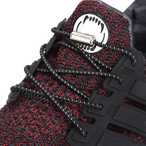 AOJOYS No Tie Reflective Shoelaces for Kids, Men, Women - Elastic Athletic Running Shoe Laces (One Pair)