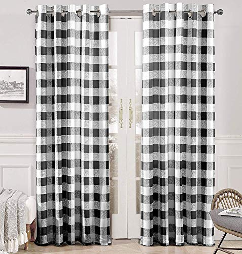 DriftAway Buffalo Checker Pattern Lined Thermal Insulated Blackout and Room Darkening Grommet Window Curtains Printed Plaid 2 Layer Set of 2 Panels 52 Inch by 84 Inch Black
