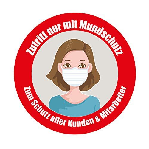 """Webermann 4 Stück Zutritt nur mit Mundschutz """" Frau Aufkleber, Aufkleber 100mm Durchmesser"""