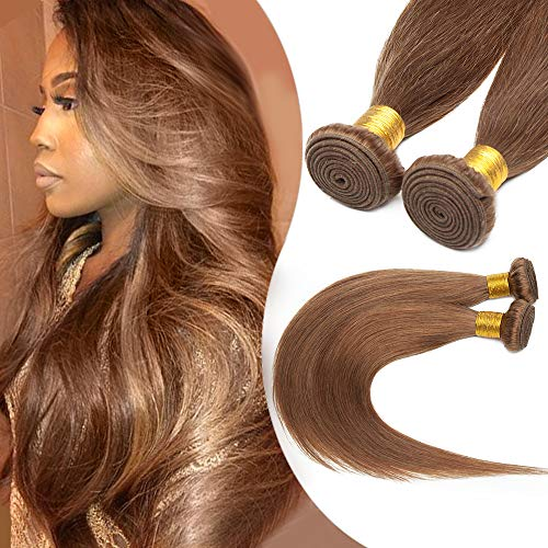 Tissage Extension Cheveux Naturel Vrai Cheveux Humain Lisse - Meches Rajout Cheveux Sans Clips - #6 CHATAIN CLAIR - 14 Pouce / 35cm