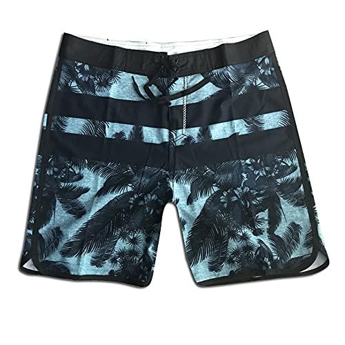 NIGHTMARE Pantalones Cortos Slim Fit Hombres Stretch Secado rápido Patrón de Plantas Pantalones de Playa con Estampado de Surf Pantalones Cortos de Fitness Mujeres Gris 30