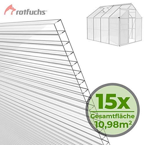 Rotfuchs® Hohlkammerplatten 15 Stück Set Stegplatten Doppelstegplatten Gewächshaus Zubehör Doppelseitig UV-Beschichtet hochwertig ohne Recycling Anteile