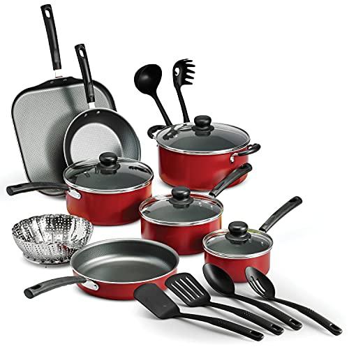 18 Piece Nonstick Pots & Pans Cookware Set Kitchen Kitchenware Cooking NEW (RED)