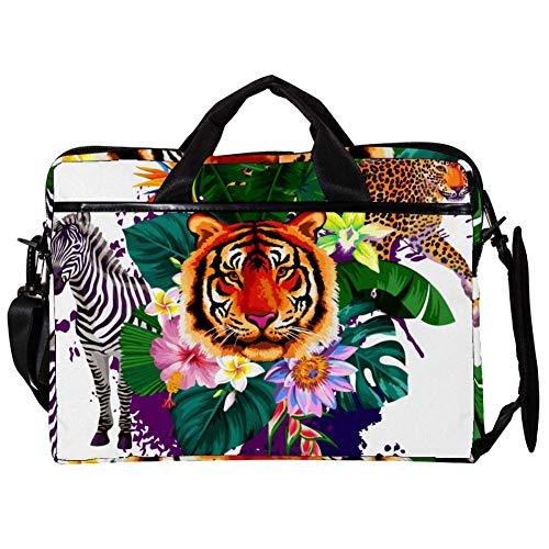 Yuzheng Tigre Leopardo Caballo Bolso Bandolera para computadora portátil con Correa para el Hombro Mensajero de Lona Maletín de Transporte Maletín Manga 38.1x27.94x2.54cm