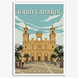 España Gran Canaria Iglesia Vintage Cartel de viaje Lienzo Pintura Arte de la pared Carteles de Kraft Adhesivo de pared revestido Decoración del hogar Regalo-20x28 pulgadas Sin marco