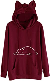 LENXH Ladies Tops Solid Color Sweater Cat Print Blouse Hooded Sweater Cute Sweater Autumn Winter Shirt
