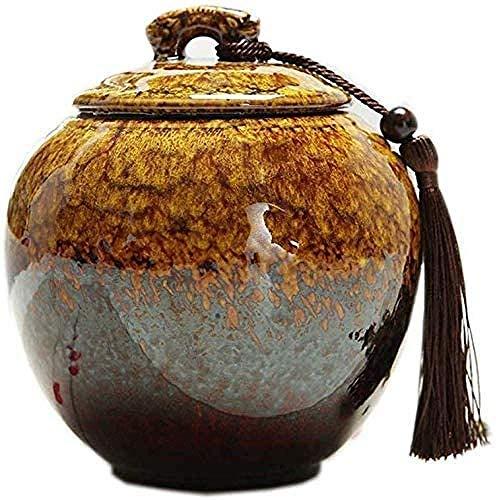 Preisvergleich Produktbild GCZZYMX Keramik Einäscherung Urn,  Groß Funeral Urn für Menschen Erwachsener Kind Haustier Asche,  immer Speicher Gedenken Urn Handgefertigte Box,  Rot, Gelb