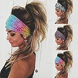 Yean Diadema bohemia ancha para el pelo bandas elásticas para yoga y flores, para mujeres y niñas (paquete de 3)