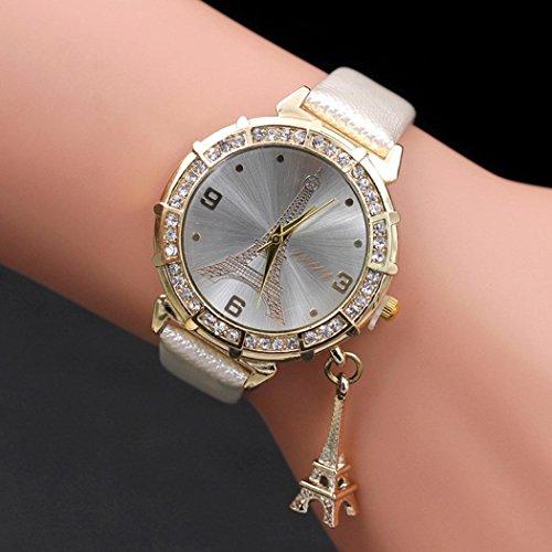 Women Elegant Quartz Watches Fashion Eiffel Tower Rhinestone Wrist Watches with Pendant (White)