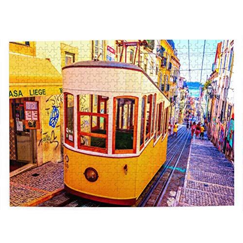Portogallo Lisbona Puzzle pour adultes 500 pièces Souvenir de voyage en bois 20,4 x 15 pouces