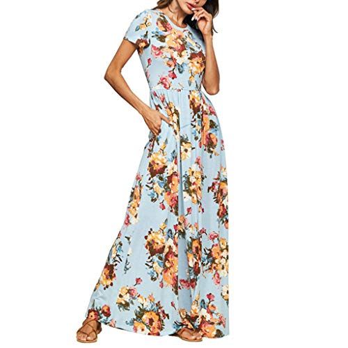 Learn More About Women's Short Sleeve Summer Dress - Ladies Fashion Floral Print Casual Party Long D...